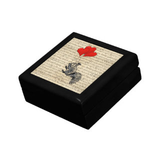 Squirrel and heart balloons jewelry box