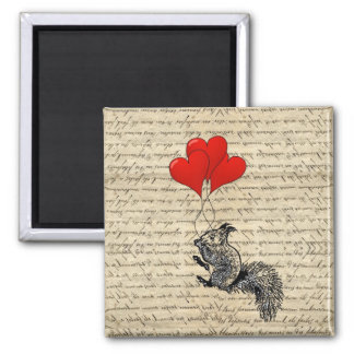 Squirrel and heart balloons refrigerator magnet