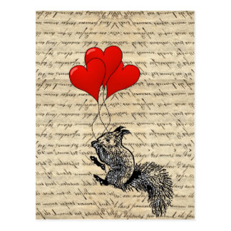 Squirrel and heart balloons post cards