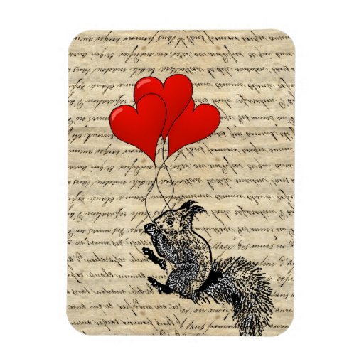 Squirrel and heart balloons rectangle magnet