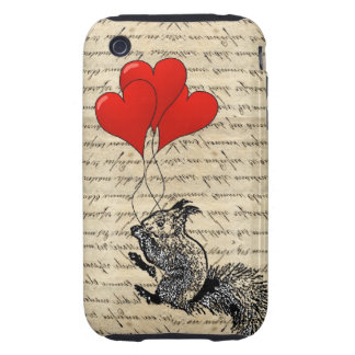 Squirrel and heart balloons tough iPhone 3 cover