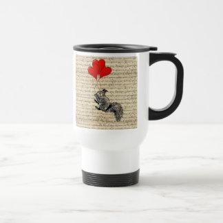 Squirrel and heart balloons travel mug
