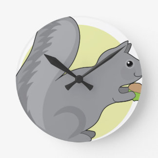 Squirrel and Nut Round Clock