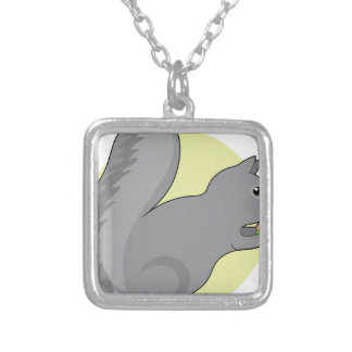 Squirrel and Nut Silver Plated Necklace