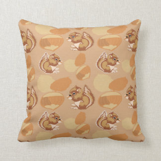 squirrel and nuts patterns throw pillow