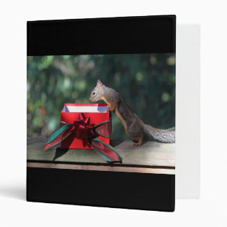 Squirrel and Open Present 3 Ring Binders