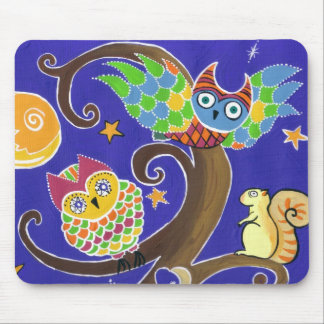 squirrel and owls mouse pad