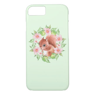 Squirrel and pink flowers iPhone 8/7 case
