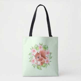 Squirrel and pink flowers tote bag