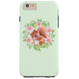 Squirrel and pink flowers tough iPhone 6 plus case