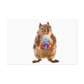 Squirrel and Present Stretched Canvas Prints