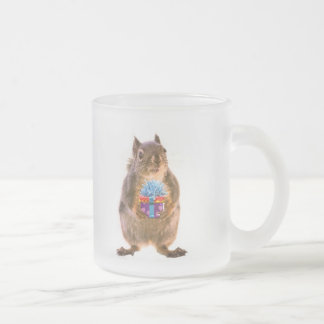 Squirrel and Present Frosted Glass Coffee Mug
