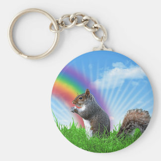 Squirrel and Rainbow Sky Basic Round Button Keychain