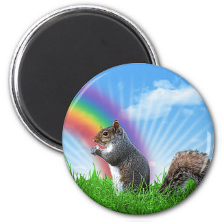 Squirrel and Rainbow Sky Magnet