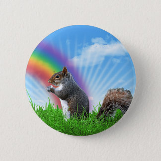 Squirrel and Rainbow Sky Pinback Button