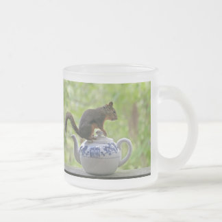 Squirrel and Teapot Frosted Glass Coffee Mug