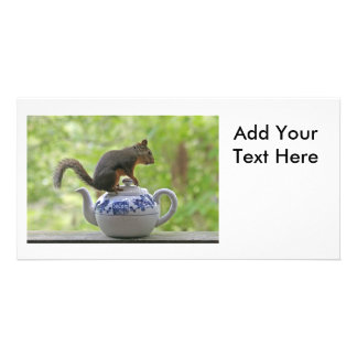 Squirrel and Teapot Photo Greeting Card