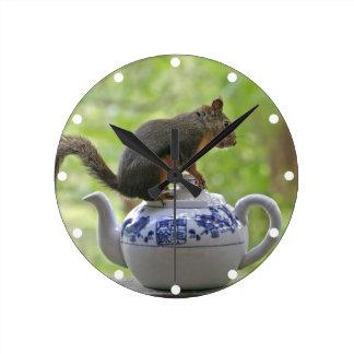Squirrel and Teapot Round Clock