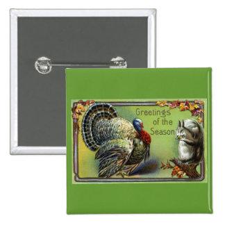 Squirrel and Turkey Vintage Thanksgiving Pinback Button