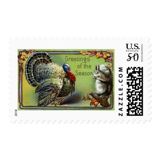 Squirrel and Turkey Vintage Thanksgiving Postage