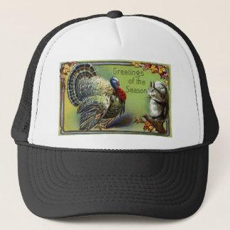 Squirrel and Turkey Vintage Thanksgiving Trucker Hat