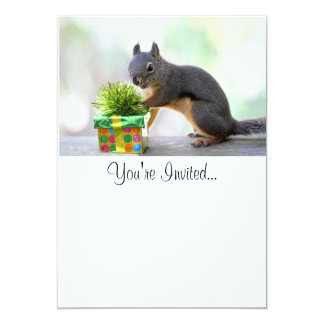 Squirrel and Wrapped Present 5x7 Paper Invitation Card
