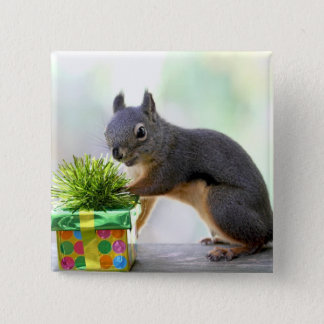 Squirrel and Wrapped Present Pinback Button