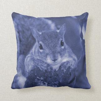 squirrel animal on log hanging out bluish throw pillow