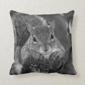 squirrel animal on log hanging out bw throw pillow