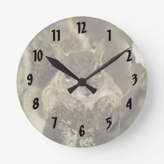 squirrel animal on log hanging out sepia round wall clocks
