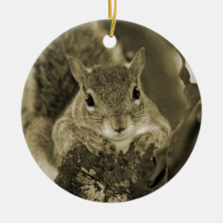 squirrel animal on log hanging out sepia christmas tree ornament