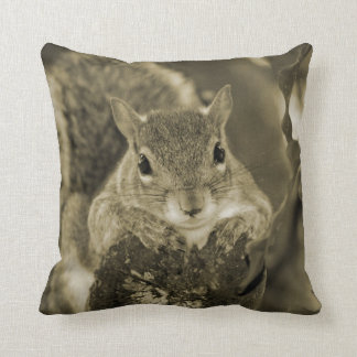 squirrel animal on log hanging out sepia throw pillow
