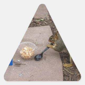 Squirrel at Breakfast Triangle Sticker