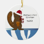 Squirrel Baby First Christmas Ceramic Ornament