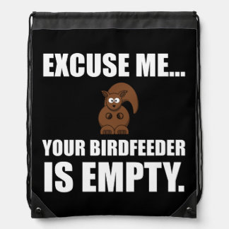 Squirrel Birdfeeder Empty Drawstring Backpack