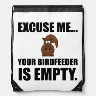 Squirrel Birdfeeder Empty Drawstring Bag