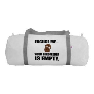 Squirrel Birdfeeder Empty Gym Bag