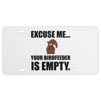 Squirrel Birdfeeder Empty License Plate