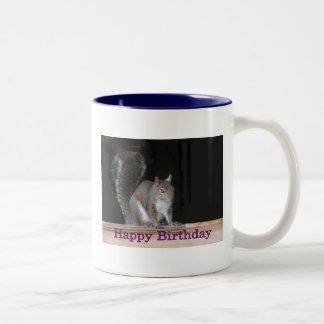 Squirrel Birthday Greetings Two-Tone Coffee Mug