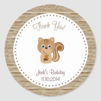Squirrel Birthday Thank You Sticker Woodland