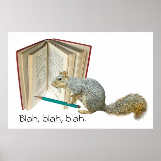 Squirrel Book Pencil Poster
