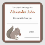 Squirrel book plate - Forest Animals bookplate Square Sticker