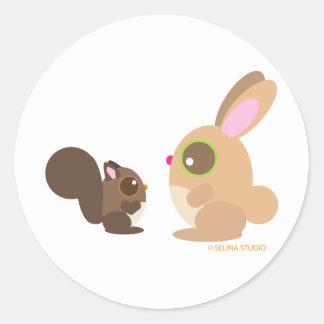 squirrel+bunny classic round sticker