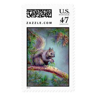 SQUIRREL by SHARON SHARPE Postage Stamp