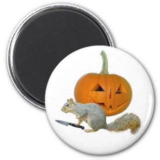 Squirrel Carving Pumpkin 2 Inch Round Magnet