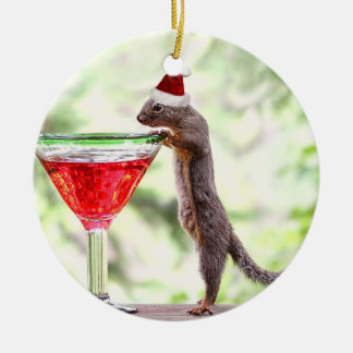 Squirrel Celebrating Christmas Ceramic Ornament