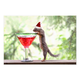 Squirrel Celebrating Christmas Photo Print