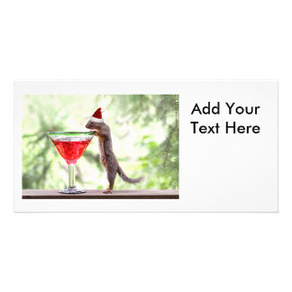 Squirrel Celebrating Christmas Customized Photo Card