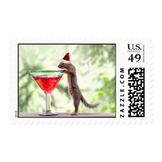 Squirrel Celebrating Christmas Stamps