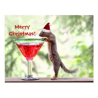 Squirrel Celebrating Christmas Postcard